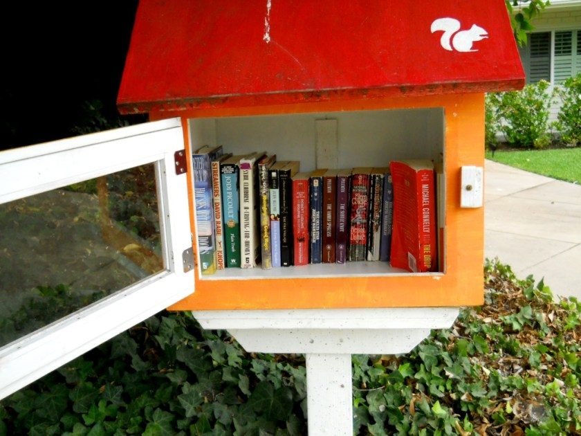 There are little free libraries under the camphor trees. Go ahead....