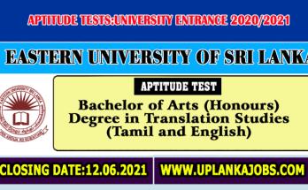 Aptitude-Tests-20202021-Eastern-University-of-Sri-Lanka-Translation-Studies