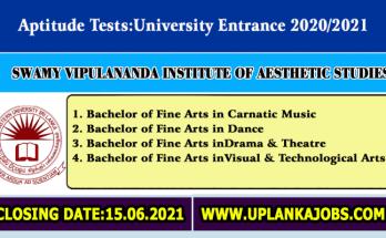 Aptitude Tests 2021 Swamy Vipulananda Institute of Aesthetic Studies