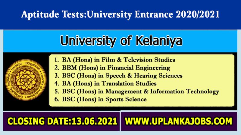 Aptitude-Tests-2021University-of-KelaniyaSix-Degree-Programs