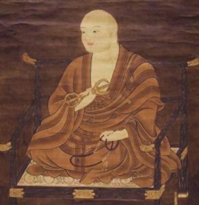日本留唐僧人空海在长安青龙寺修习佛学与汉学,他仿照汉字的草书发明了平假名。图为空海画像。 (公有领域)