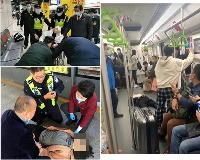 上海地铁近来频现随街倒。(图源:大纪元)