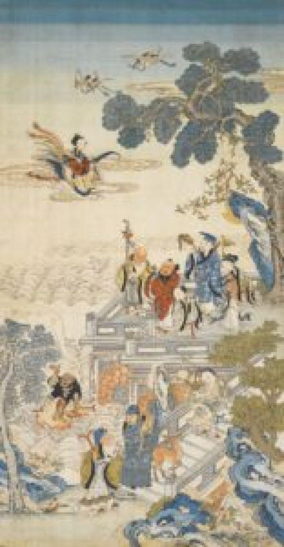 蟠桃大会(清十八/十九世纪初 缂丝蟠桃大会图挂幅/sothebys.com/pin)