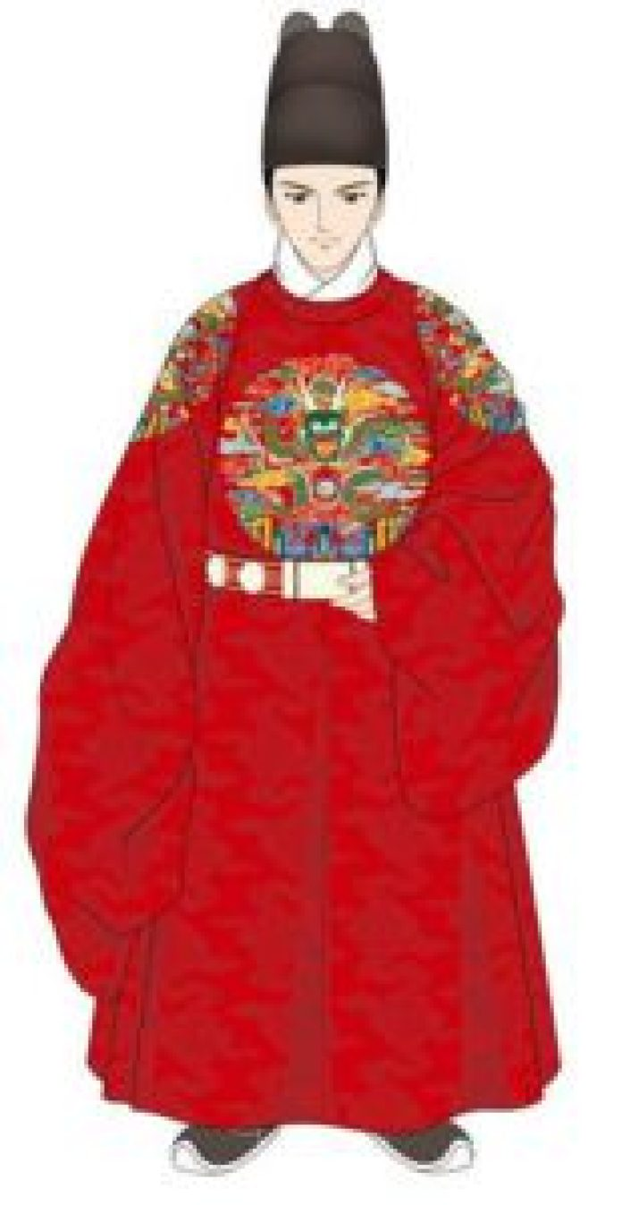 圆形腰带在这个朝代得到了普及。金属纽扣成为他们衣服的一部分,领子被做成圆形(douban.com/ins)