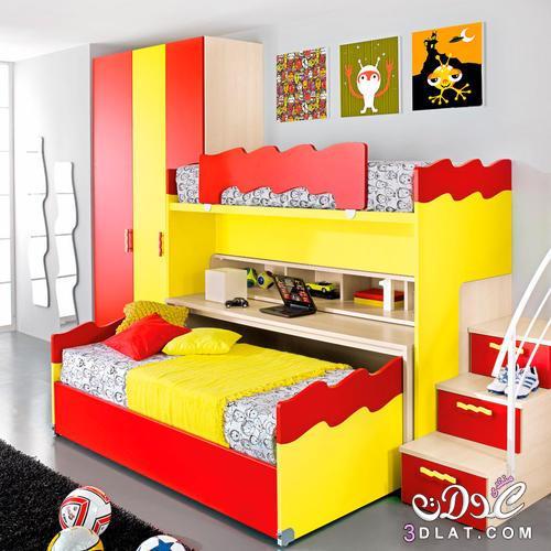 أحدث وأجمل غرف نوم اطفال دورين من طابقين للمساحات الصغيره