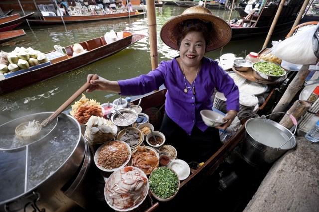 Thai woman selling street food