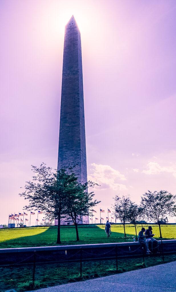 Washington Monument at sunset on the National Mall in Washington D.C.