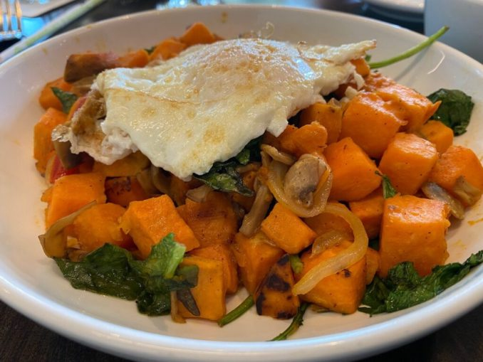 Sweet potato and kale hash at the 42 Bar and Table at The Clinton Presidential Center.