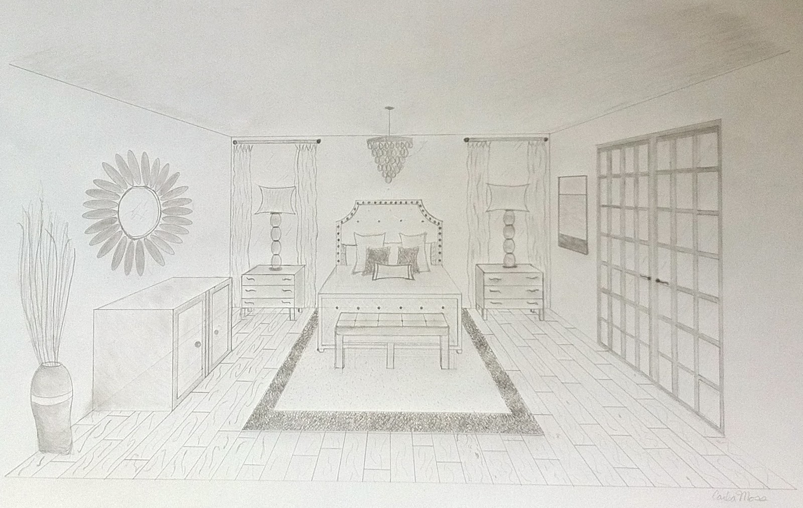 One Point Perspective Photography One Point Perspective Drawing Room Simple Two Bedroom House