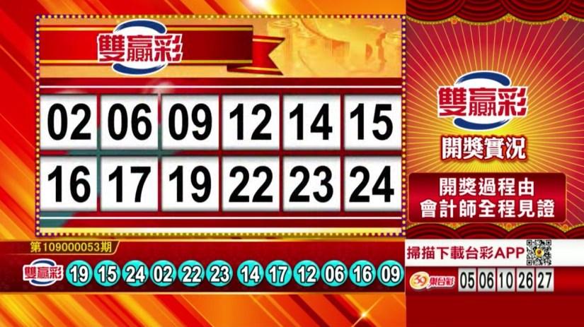 雙贏彩中獎號碼》第109000053期 民國109年3月2日