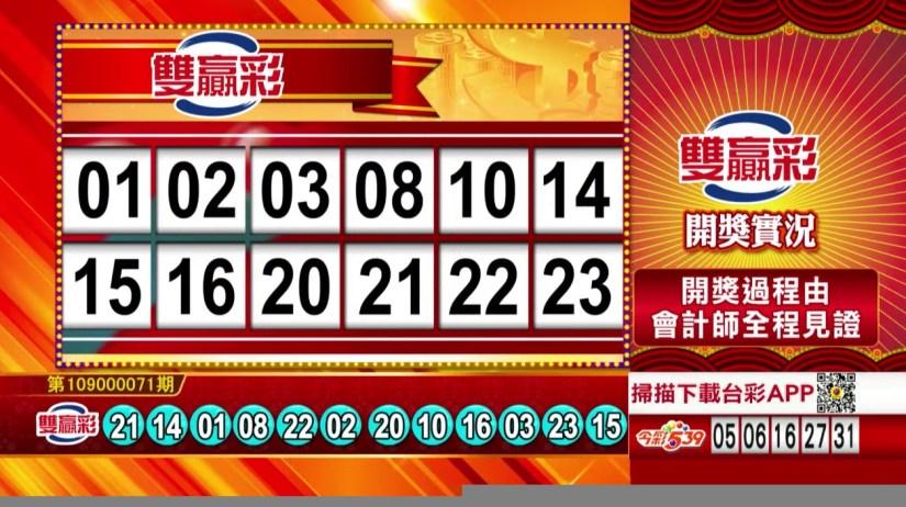 雙贏彩中獎號碼》第109000071期 民國109年3月23日