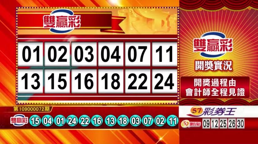 雙贏彩中獎號碼》第109000072期 民國109年3月24日