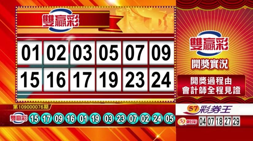 雙贏彩中獎號碼》第109000076期 民國109年3月28日