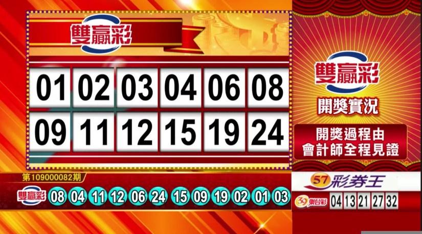 雙贏彩中獎號碼》第109000082期 民國109年4月4日
