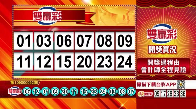 雙贏彩中獎號碼》第109000092期 民國109年4月16日 《#雙贏彩 #樂透彩開獎號碼》