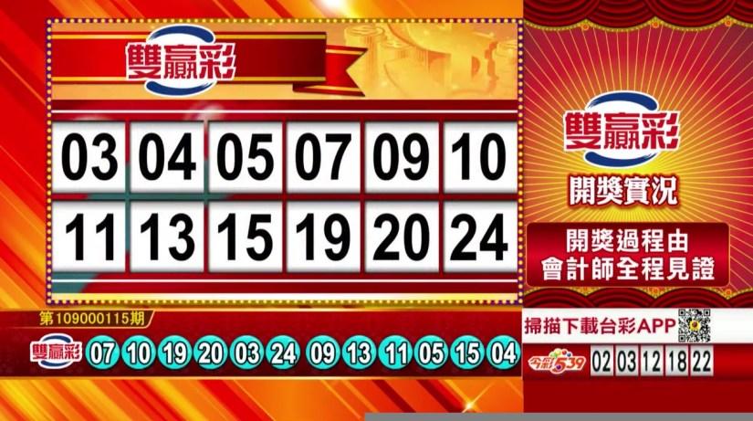 雙贏彩中獎號碼》第109000115期 民國109年5月13日 《#雙贏彩 #樂透彩開獎號碼》
