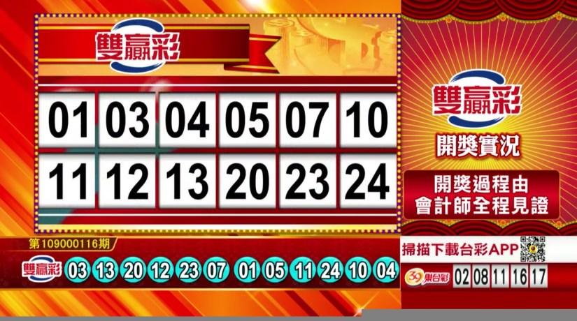 雙贏彩開獎號碼》第109000116期 民國109年5月14日 《#雙贏彩 #樂透彩中獎號碼》