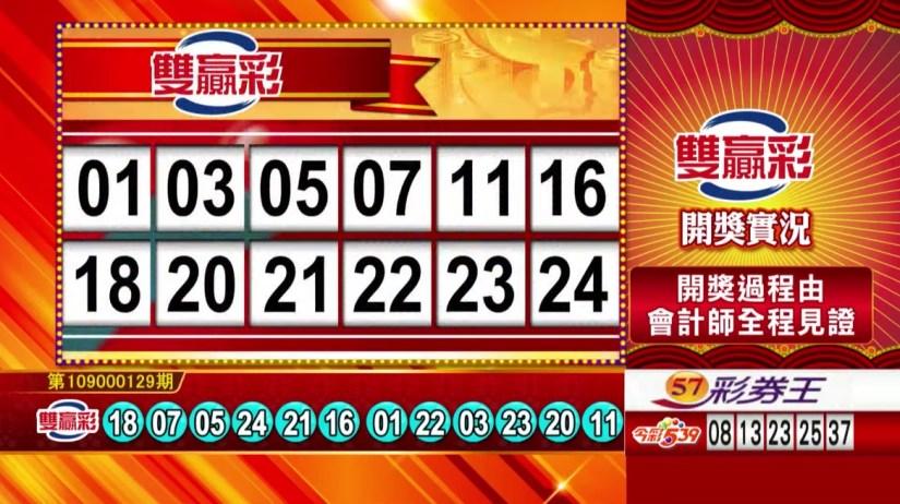雙贏彩中獎號碼》第109000129期 民國109年5月29日 《#雙贏彩 #樂透彩開獎號碼》