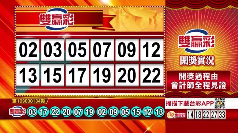 雙贏彩中獎號碼》第109000134期 民國109年6月4日 《#雙贏彩 #樂透彩開獎號碼》