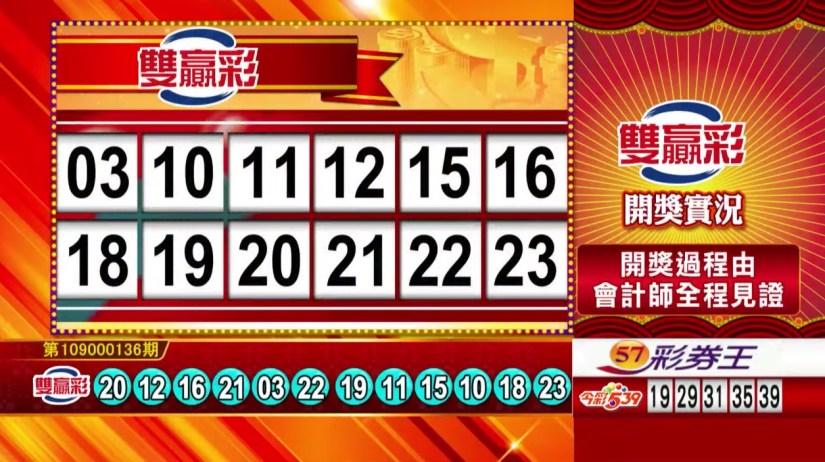 雙贏彩中獎號碼》第109000136期 民國109年6月6日 《#雙贏彩 #樂透彩開獎號碼》