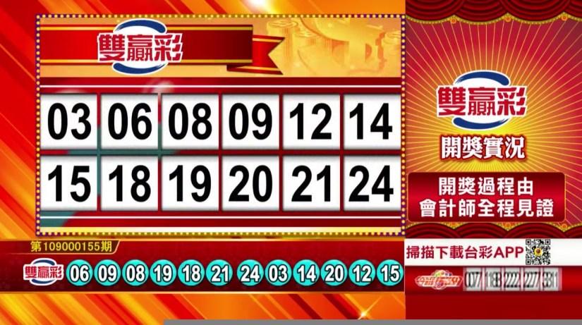 雙贏彩開獎號碼》第109000155期 民國109年6月29日 《#雙贏彩 #樂透彩中獎號碼》