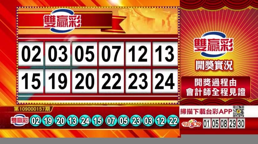 雙贏彩中獎號碼》第109000157期 民國109年7月1日 《#雙贏彩 #樂透彩開獎號碼》