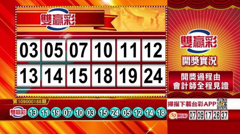 雙贏彩中獎號碼》第109000188期 民國109年8月6日 《#雙贏彩 #樂透彩開獎號碼》