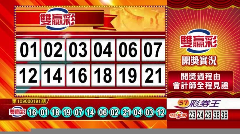 雙贏彩中獎號碼》第109000191期 民國109年8月10日 《#雙贏彩 #樂透彩開獎號碼》