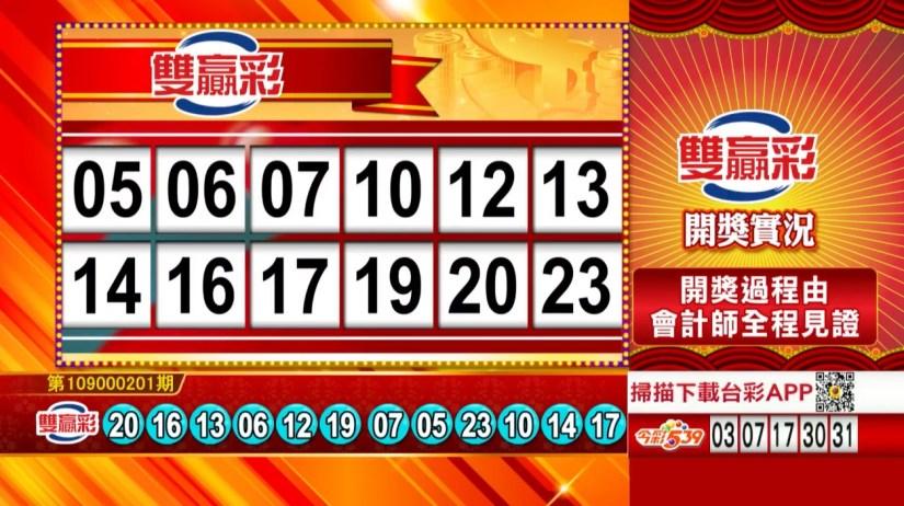 雙贏彩中獎號碼》第109000201期 民國109年8月21日 《#雙贏彩 #樂透彩開獎號碼》