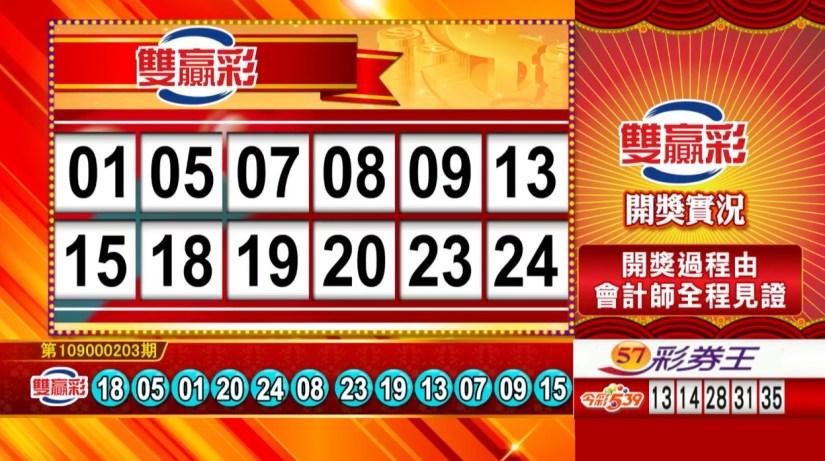 雙贏彩中獎號碼》第109000203期 民國109年8月24日 《#雙贏彩 #樂透彩開獎號碼》