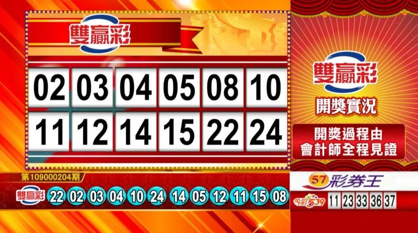 雙贏彩中獎號碼》第109000204期 民國109年8月25日 《#雙贏彩 #樂透彩開獎號碼》