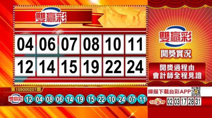 雙贏彩中獎號碼》第109000207期 民國109年8月28日 《#雙贏彩 #樂透彩開獎號碼》