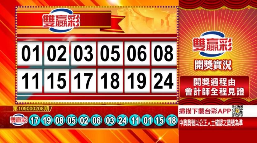 雙贏彩中獎號碼》第109000208期 民國109年8月29日 《#雙贏彩 #樂透彩開獎號碼》