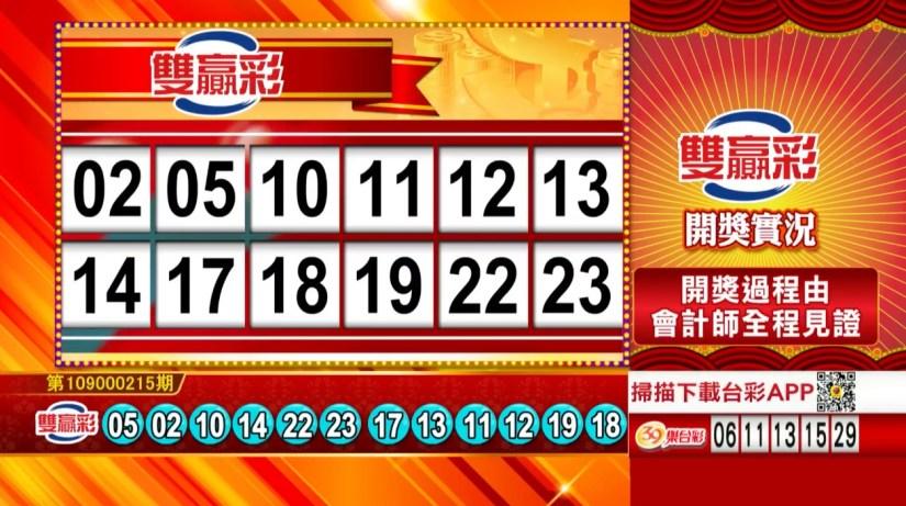 雙贏彩中獎號碼》第109000215期 民國109年9月7日 《#雙贏彩 #樂透彩開獎號碼》