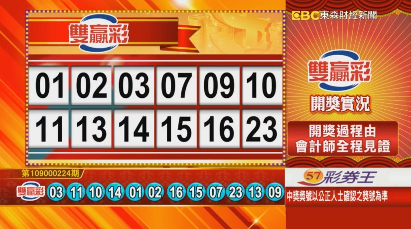 雙贏彩中獎號碼》第109000224期 民國109年9月17日 《#雙贏彩 #樂透彩開獎號碼》