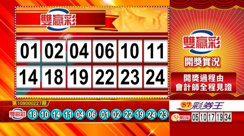 雙贏彩中獎號碼》第109000227期 民國109年9月21日 《#雙贏彩 #樂透彩開獎號碼》