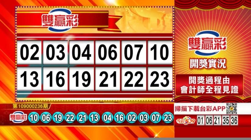 雙贏彩開獎號碼》第109000236期 民國109年10月1日 《#雙贏彩 #樂透彩中獎號碼》