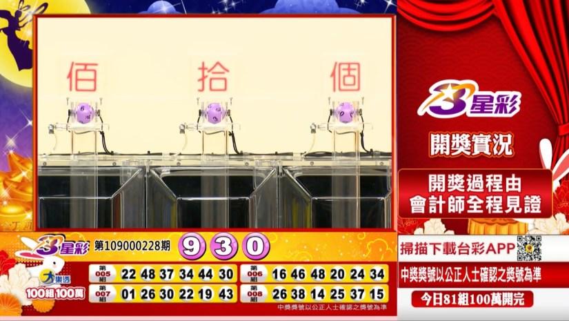 3星彩中獎號碼》第109000228期 民國109年9月22日 《#3星彩 #樂透彩開獎號碼》