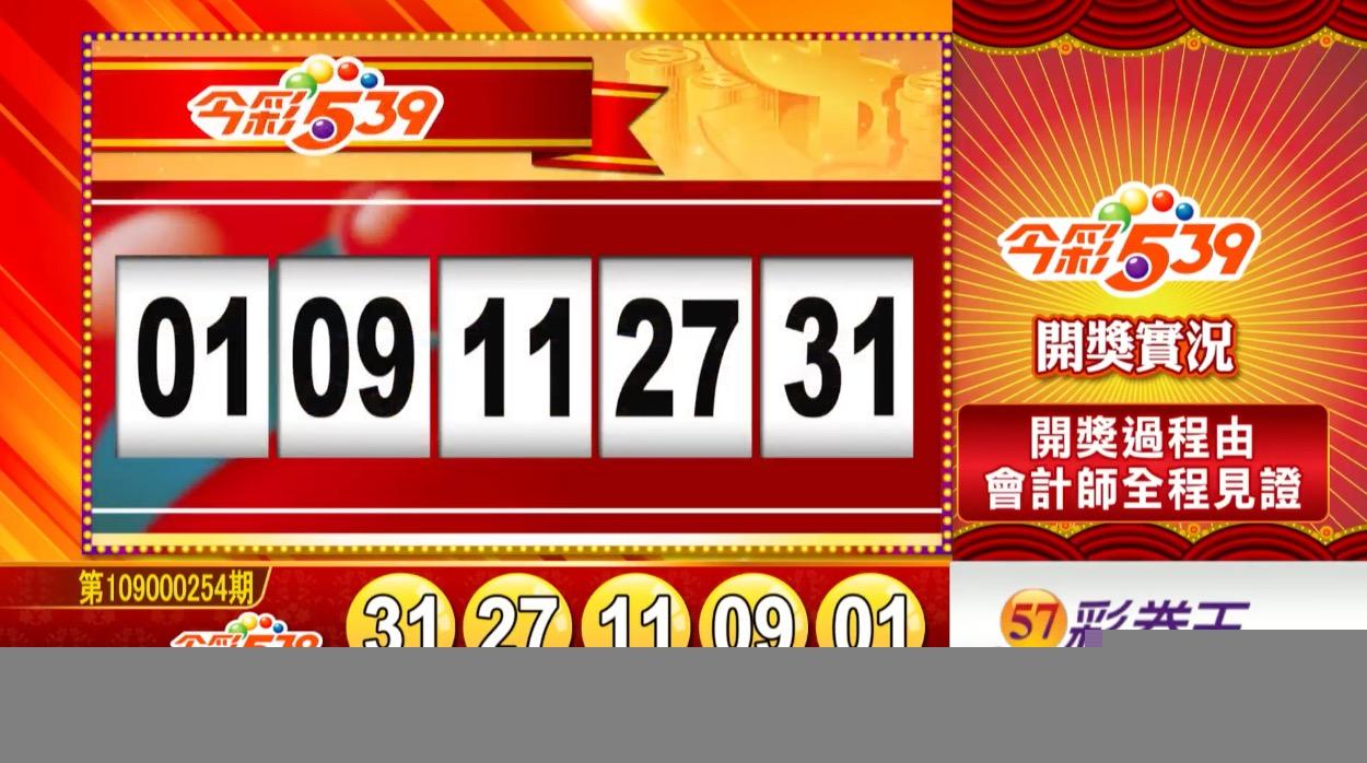 今彩539中獎號碼》第109000254期 民國109年10月22日 《#今彩539 #樂透彩開獎號碼》