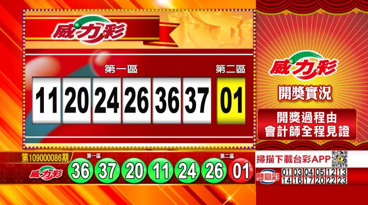 威力彩中獎號碼》第109000086期 民國109年10月26日 《#威力彩 #樂透彩開獎號碼》