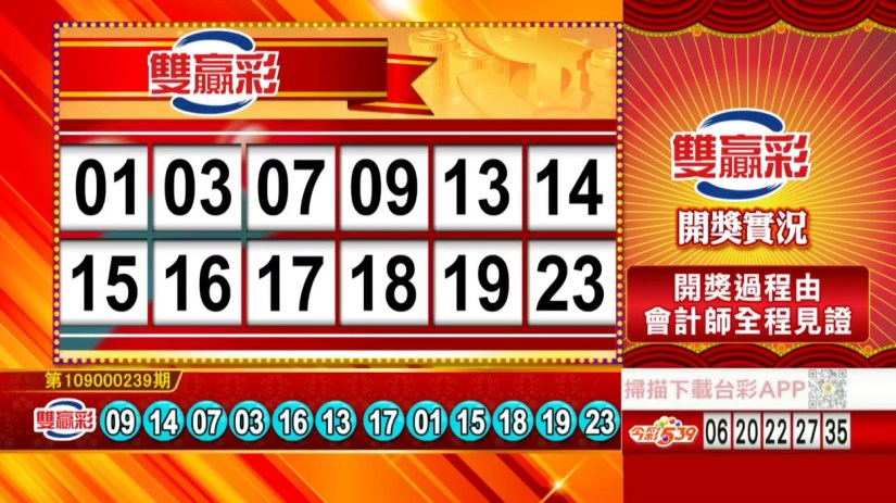雙贏彩中獎號碼》第109000239期 民國109年10月5日 《#雙贏彩 #樂透彩開獎號碼》
