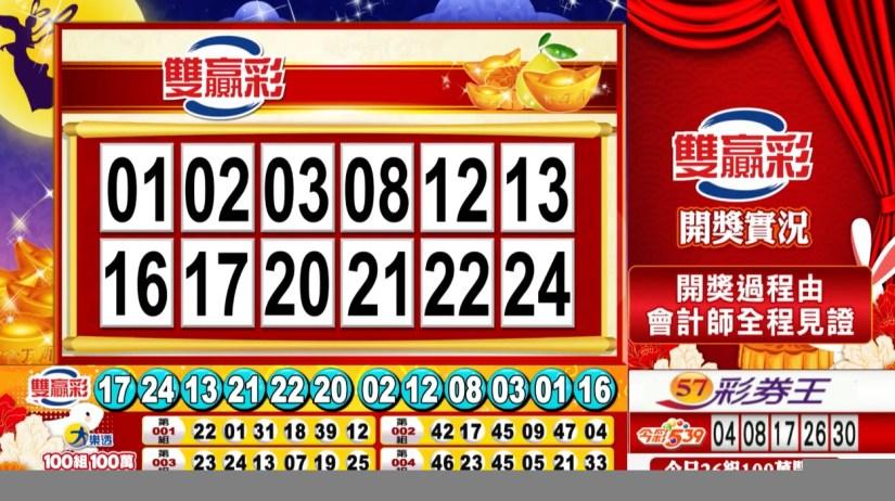 雙贏彩中獎號碼》第109000246期 民國109年10月13日 《#雙贏彩 #樂透彩開獎號碼》
