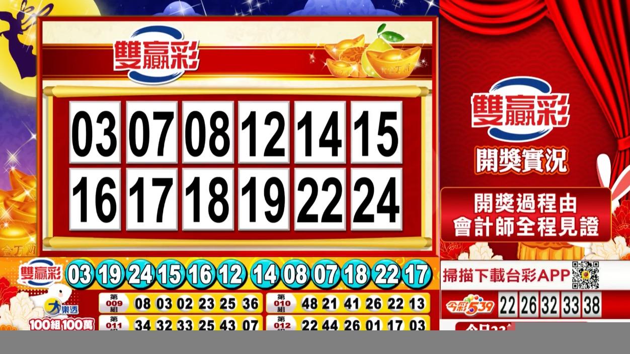 雙贏彩中獎號碼》第109000249期 民國109年10月16日 《#雙贏彩 #樂透彩開獎號碼》