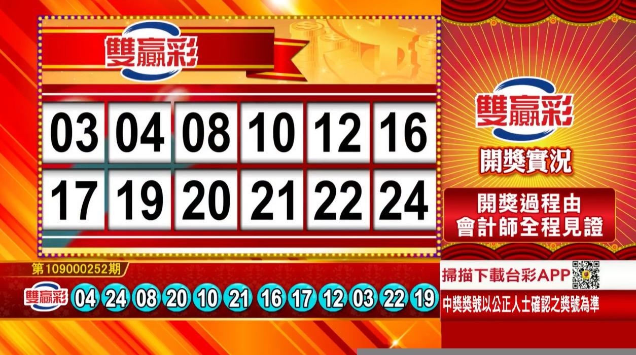 雙贏彩中獎號碼》第109000252期 民國109年10月20日 《#雙贏彩 #樂透彩開獎號碼》