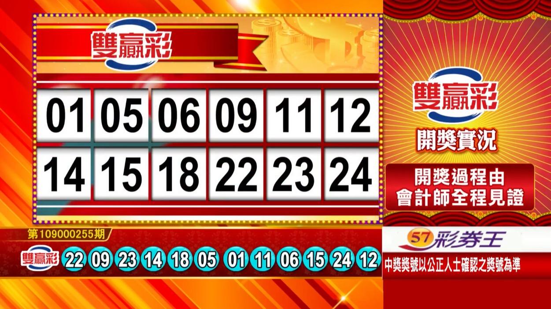 雙贏彩中獎號碼》第109000255期 民國109年10月23日 《#雙贏彩 #樂透彩開獎號碼》