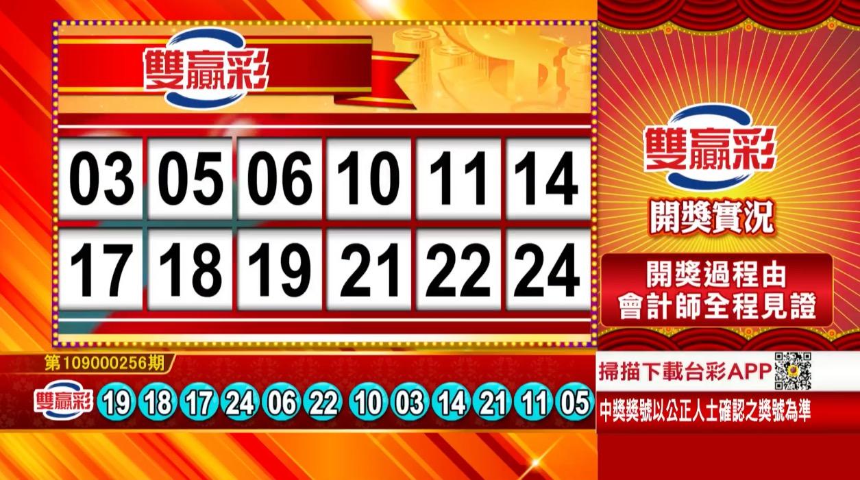 雙贏彩中獎號碼》第109000256期 民國109年10月24日 《#雙贏彩 #樂透彩開獎號碼》