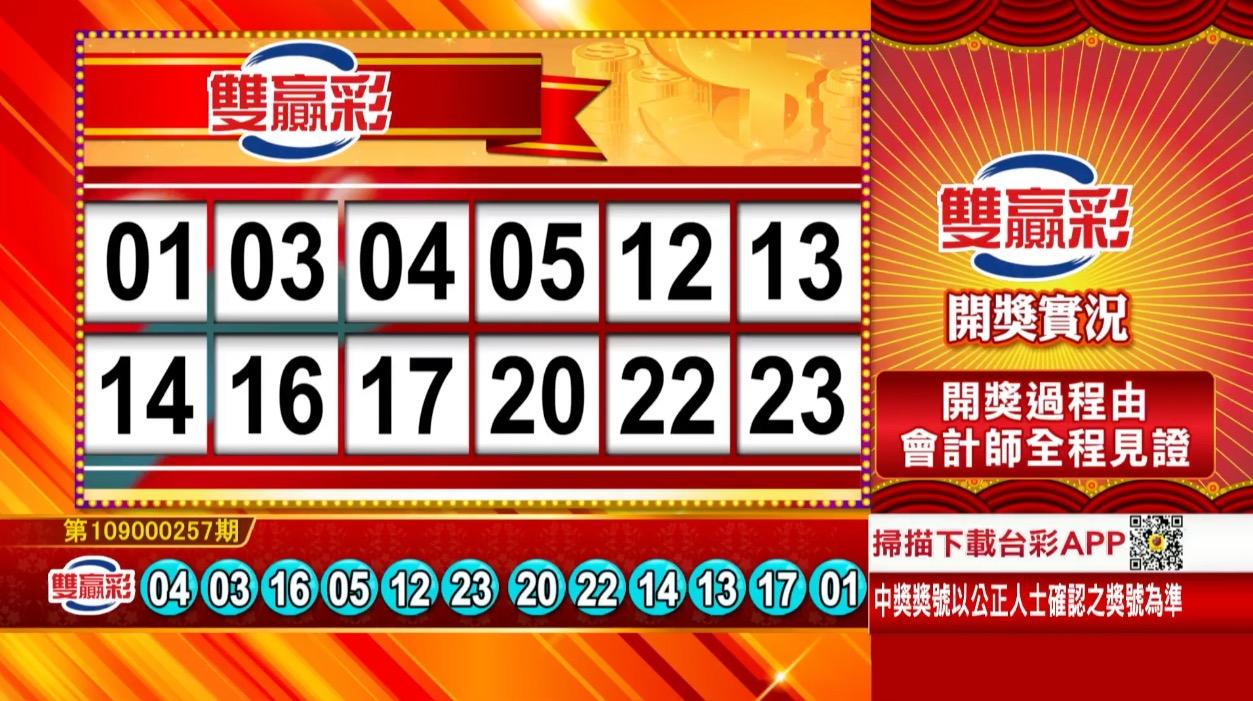 雙贏彩中獎號碼》第109000257期 民國109年10月26日 《#雙贏彩 #樂透彩開獎號碼》