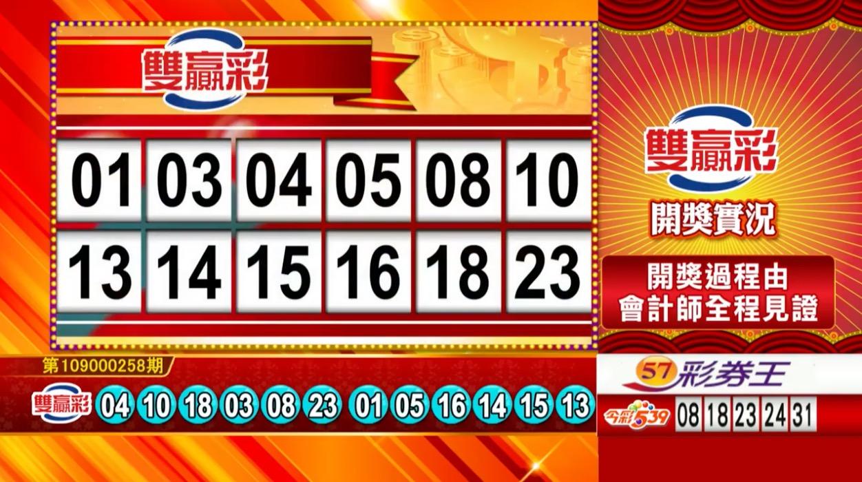 雙贏彩中獎號碼》第109000258期 民國109年10月27日 《#雙贏彩 #樂透彩開獎號碼》