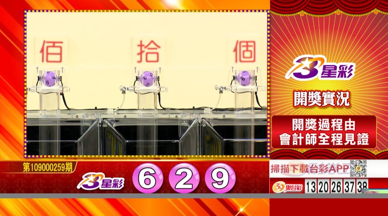 3星彩中獎號碼》第109000259期 民國109年10月28日 《#3星彩 #樂透彩開獎號碼》