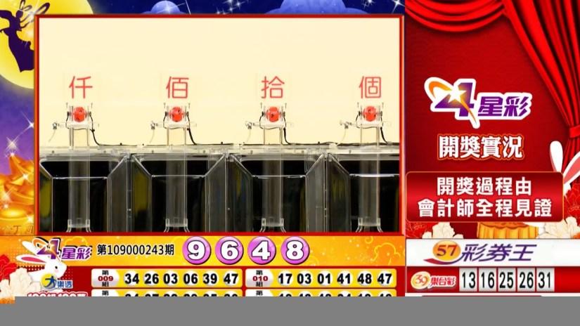 4星彩中獎號碼》第109000243期 民國109年10月9日 《#4星彩 #樂透彩開獎號碼》